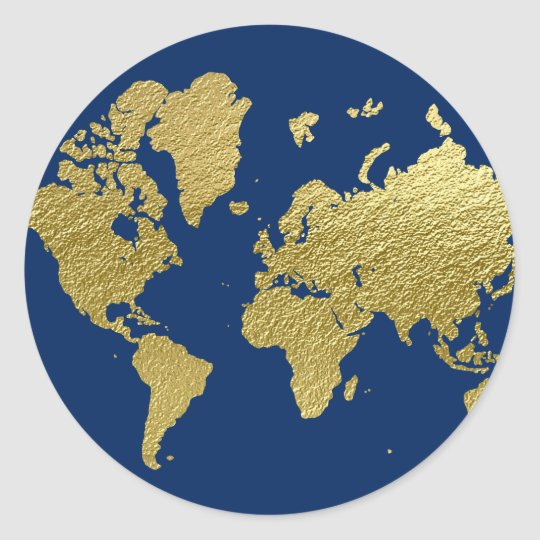 Round Globe Map.World Map Design Navy And Gold Classic Round Sticker Zazzle Co Uk