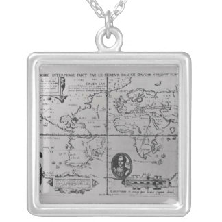 World Map detailing the Expeditions Silver Plated Necklace