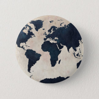 World Map Distressed Navy 6 Cm Round Badge