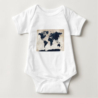 World Map Distressed Navy Baby Bodysuit