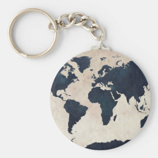 World Map Distressed Navy Basic Round Button Key Ring