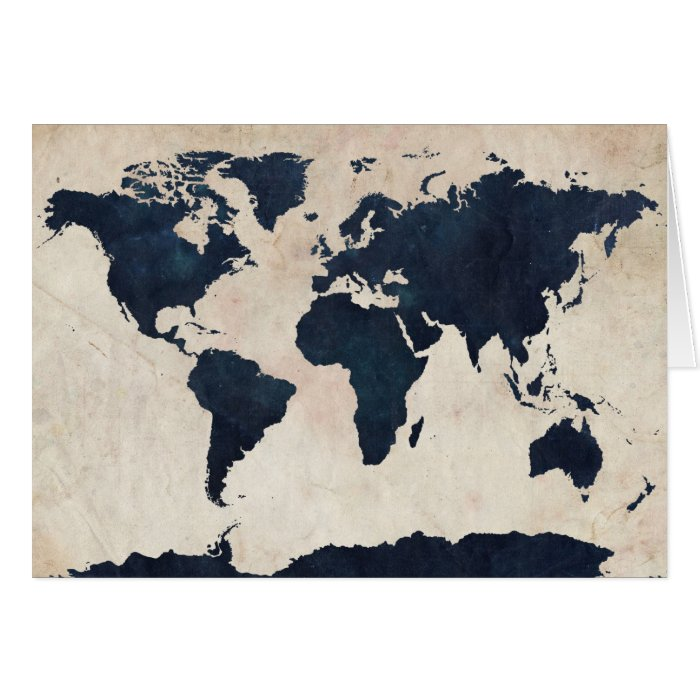 World Map Distressed Navy Greeting Card