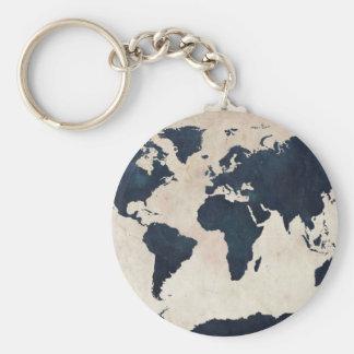 World Map Distressed Navy Basic Round Button Key Ring