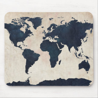 World Map Distressed Navy Mouse Mat