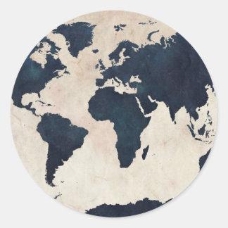 World Map Distressed Navy Round Sticker