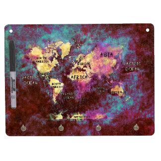 world map dry erase board with key ring holder