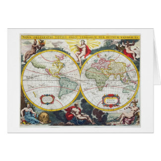 World Map, early 18th century (coloured engraving) Greeting Card