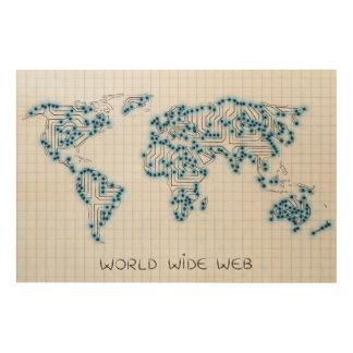 World Map | Electronic Microchip Circuits Wood Print