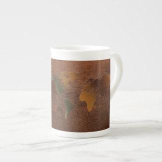 World Map, Faux Leather Bone China Coffee Mug Bone China Mug
