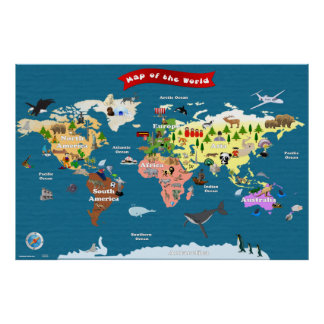 World Map For Kids - Let s Explore Posters