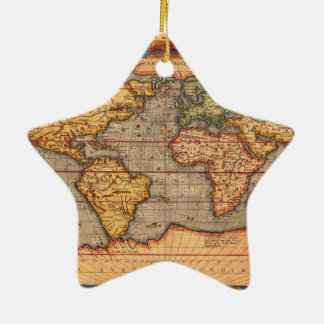 World map from 1601 ceramic star decoration