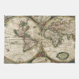 World Map from 1689 Tea Towel