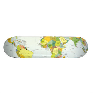 World Map Globe Atlas Countries Custom Skate Board