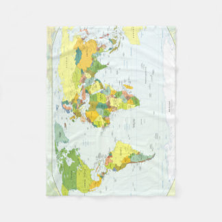World Map Globe Atlas Countries Fleece Blanket