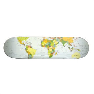 World Map Globe Atlas Countries Skateboard Deck
