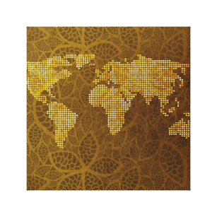 Gold world map art posters framed artwork zazzle world map gold art with leaf pattern canvas print gumiabroncs
