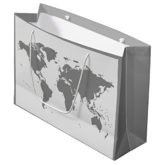 WORLD MAP ILLUSTRATION Large Gift Bag