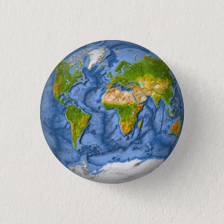 World map in a circle 3 cm round badge