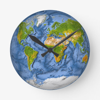 World map in a circle round clock