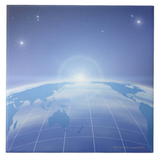 World Map in Space Large Square Tile