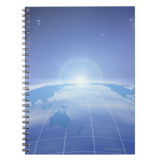 World Map in Space Spiral Note Book