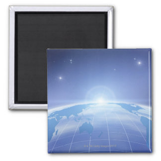 World Map in Space Square Magnet