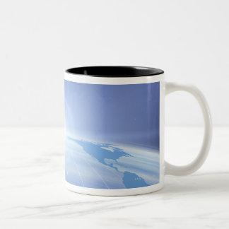 World Map in Space Two-Tone Coffee Mug
