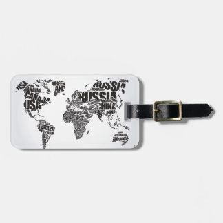 World Map in Typography Luggage Tag