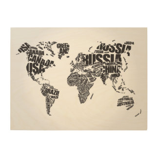 World Map in Typography Wood Print