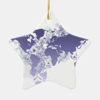 World Map in Violet Ceramic Star Decoration