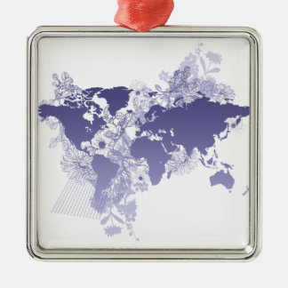 World Map in Violet Christmas Ornament
