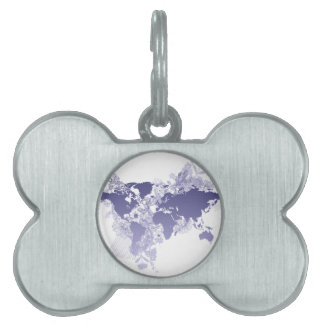 World Map in Violet Pet ID Tag