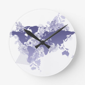 World Map in Violet Wall Clocks