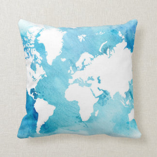 World Map In Watercolor Blues Cushion