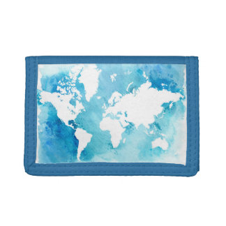 World Map In Watercolor Blues Trifold Wallet