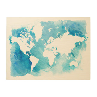 World Map In Watercolor Blues Wood Canvases