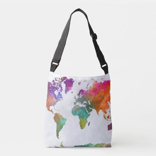 World Map In Watercolor Crossbody Bag
