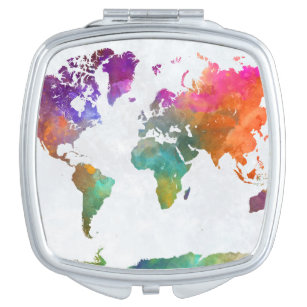 World map compact mirrors makeup tools zazzle world map in watercolor vanity mirror gumiabroncs Gallery
