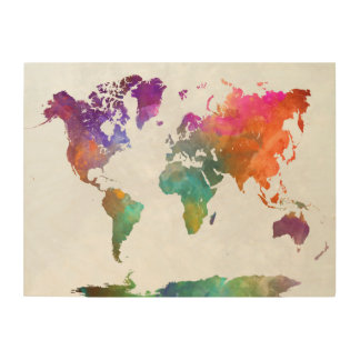 World Map In Watercolor Wood Canvas