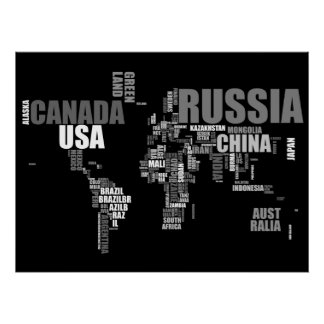 World Map in Words Print