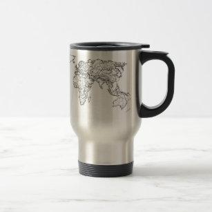 World map mugs coffee mugs cups zazzle uk world map ink drawing travel mug gumiabroncs Image collections