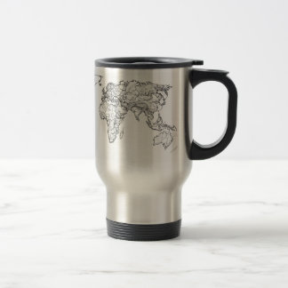 World Map ink drawing Travel Mug
