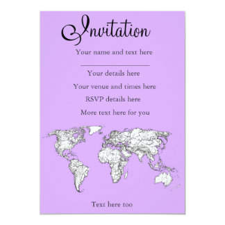 World Map ink in lilac pink 13 Cm X 18 Cm Invitation Card