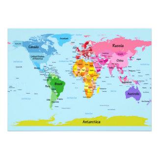 World Map Invitations