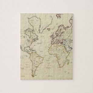 Watercolor world map jigsaw puzzles zazzle world map jigsaw puzzle gumiabroncs Image collections