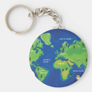 World Map Key Ring