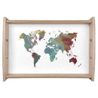 world map kitchen serving tray