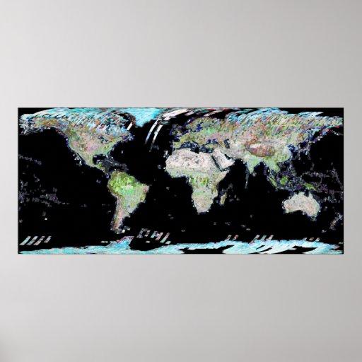 World Map Landsat Mosaic 2002 Print