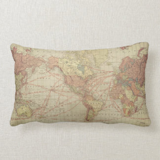 World map lumbar cushion