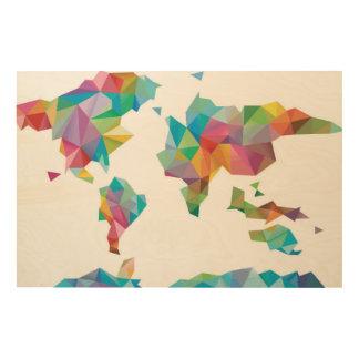 World Map Made of Geometric Shapes Wood Prints